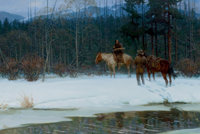 TOM LOVELL (American, 1909-1997) The Thaw, 1975 Oil on board 27 x 40 inches (68.6 x 101.6 cm)