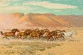 Paintings, ROBERT E. LOUGHEED (American, 1910-1982). Hoof Beats in the Desert. Oil on panel. 20 x 30 inches (50.8 x 76.2 cm). Signe... (Total: 2 Items)