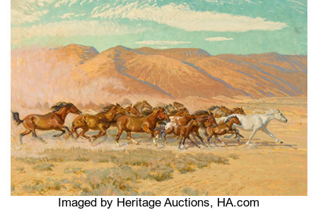 ROBERT E. LOUGHEED (American, 1910-1982) Hoof Beats in the Desert Oil on panel 20 x 30 inches (50.8 x 76.2 cm) Signe... (Total: 2 Items)