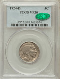 Buffalo Nickels: , 1924-D 5C VF30 PCGS. CAC. PCGS Population (36/774). NGC Census:(36/517). Mintage: 5,258,000. Numismedia Wsl. Price for pro...
