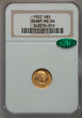 Commemorative Gold, 1922 G$1 Grant No Star MS66 NGC. CAC....