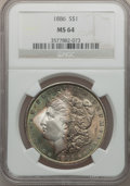 Morgan Dollars: , 1886 $1 MS64 NGC. NGC Census: (48903/25867). PCGS Population (39042/16936). Mintage: 19,963,886. Numismedia Wsl. Price for ...