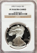 Modern Bullion Coins: , 1995-P $1 Silver Eagle PR70 Ultra Cameo NGC. NGC Census: (782).PCGS Population (327). Numismedia Wsl. Price for problem f...