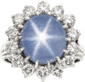 Estate Jewelry:Rings, Star Sapphire, Diamond, White Gold Ring. ...