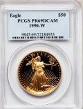 Modern Bullion Coins: , 1990-W G$50 One-Ounce Gold Eagle PR69 Deep Cameo PCGS. PCGSPopulation (3351/181). NGC Census: (1725/668). Mintage: 62,401....