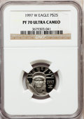 Modern Bullion Coins: , 1997-W P$25 Quarter-Ounce Platinum Eagle PR70 Ultra Cameo NGC. NGCCensus: (490). PCGS Population (107). Mintage: 18,726. N...