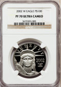 Modern Bullion Coins, 2002-W P$100 One-Ounce Platinum Eagle PR70 Ultra Cameo NGC. NGCCensus: (365). PCGS Population (142). Numismedia Wsl. Pric...