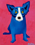 Paintings, GEORGE RODRIGUE (American, b. 1944). Blue Dog think Pink, 1996. Oil on canvas. 14 x 11 inches (35.6 x 27.9 cm). Signed l...