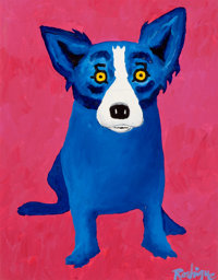 GEORGE RODRIGUE (American, b. 1944) Blue Dog think Pink, 1996 Oil on canvas 14 x 11 inches (35.6