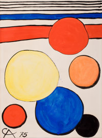 ALEXANDER CALDER (American, 1898-1976) Untitled, 1975 Gouache on paper 30-1/2 x 23 inches (77.5 x