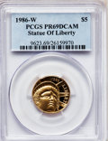 Modern Issues: , 1986-W G$5 Statue of Liberty Gold Five Dollar PR69 Deep Cameo PCGS.PCGS Population (10894/606). NGC Census: (151/1). Minta...