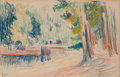 Works on Paper, MAXIMILIEN LUCE (French, 1858-1941). Color Landscape. Crayon on paper. 5-3/4 x 9 inches (14.6 x 22.9 cm). Signed lower l...