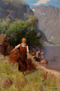 Fine Art - Painting, European:Other , HANS DAHL (Norwegian, 1849-1937). Girl in a Fjord Landscape.Oil on canvas. 39 x 26 inches (99.1 x 66.0 cm). Signed and ...