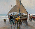 Paintings, ANTHONY THIEME (American, 1888-1954). Pescadores a la Mañana. Oil on canvas. 25 x 30 inches (63.5 x 76.2 cm). Signed low...