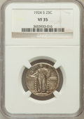 Standing Liberty Quarters: , 1924-S 25C VF35 NGC. NGC Census: (2/322). PCGS Population (7/456).Mintage: 2,860,000. Numismedia Wsl. Price for problem fr...
