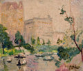 Fine Art - Painting, American:Modern  (1900 1949)  , HAYLEY R. LEVER (American, 1876-1958). The Pond, CentralPark, 1914. Oil on canvas. 10 x 12 inches (25.4 x 30.5 cm).Sig...