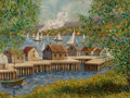 Fine Art - Painting, American:Modern  (1900 1949)  , WILLIAM CHADWICK (American, 1879-1962). New England Harbor.Oil on canvas. 18 x 24 inches (45.7 x 61.0 cm). Signed lower...