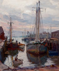 Fine Art - Painting, American:Modern  (1900 1949)  , EMILE ALBERT GRUPPE (American, 1896-1978). Busy Harbor,Gloucester, c. 1945. Oil on canvas. 30 x 25 inches (76.2 x 63.5...
