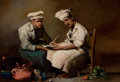 Fine Art - Painting, European:Antique  (Pre 1900), AUGUSTIN THÉODULE RIBOT (French, 1823-1891). The Recipe. Oilon board. 6-3/4 x 9-3/4 inches (17.3 x 24.9 cm). Signed low...