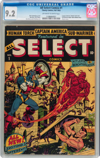 All Select Comics #1 (Timely, 1943) CGC NM- 9.2 Off-white to white pages