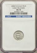 Modern Bullion Coins, 2008-W $10 Tenth-Ounce Platinum American Eagle, Early Releases MS70NGC. NGC Census: (0). PCGS Population (66). (#393079)...