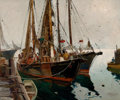 Fine Art - Painting, American:Modern  (1900 1949)  , ANTHONY THIEME (American, 1888-1954). Two Fishing Boats. Oilon canvas. 30 x 36 inches (76.2 x 91.4 cm). Signed lower ri...