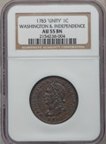 Colonials: , 1783 1C Washington Unity States Cent AU55 NGC. NGC Census: (10/27).PCGS Population (32/26). (#689). From The Dr. Charl...