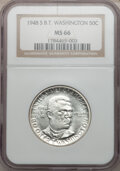 Commemorative Silver: , 1948-S 50C Booker T. Washington MS66 NGC. NGC Census: (302/62).PCGS Population (257/8). Mintage: 8,005. Numismedia Wsl. Pr...