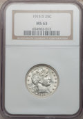 Barber Quarters: , 1915-D 25C MS63 NGC. NGC Census: (125/242). PCGS Population(146/355). Mintage: 3,694,000. Numismedia Wsl. Price for proble...