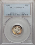 Roosevelt Dimes: , 1949 10C MS66 Full Bands PCGS. PCGS Population (42/12). NGC Census:(29/9). Mintage: 30,940,000. Numismedia Wsl. Price for ...