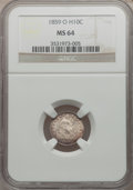 Seated Half Dimes: , 1859-O H10C MS64 NGC. NGC Census: (27/15). PCGS Population (22/9).Mintage: 560,000. Numismedia Wsl. Price for problem free...