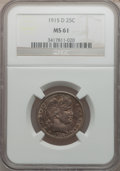 Barber Quarters: , 1915-D 25C MS61 NGC. NGC Census: (20/426). PCGS Population(20/579). Mintage: 3,694,000. Numismedia Wsl. Price for problem ...
