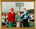 Autographs:Photos, Sarazen, Nelson and Snead Multi Signed Oversized Photograph...