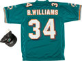 Football Collectibles:Uniforms, Rickey Williams Signed Miami Dolphins Jersey and Don Shula Signed Cap....
