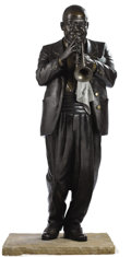 Bronze:American, EDWARD E. HLAVKA (American, 20th Century). Pops, 1989.Bronze. 67 inches (170.2 cm) high. ...