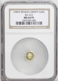 California Fractional Gold: , Undated 25C Liberty Round 25 Cents, BG-222, R.2, MS64 NGC. PCGSPopulation (98/14). (#10407)...