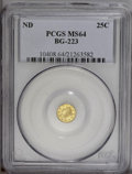 California Fractional Gold: , Undated 25C Liberty Round 25 Cents, BG-223, Low R.4, MS64 PCGS.PCGS Population (17/4). (#10408)...
