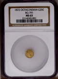 California Fractional Gold: , 1872 25C Indian Octagonal 25 Cents, BG-791, R.3, MS63 NGC. PCGSPopulation (72/110). (#10618)...