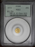 California Fractional Gold: , 1872 25C Indian Octagonal 25 Cents, BG-791, R.3, MS63 PCGS. PCGSPopulation (72/109). (#10618)...
