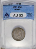 Coins of Hawaii: , 1883 25C Hawaii Quarter AU53 ANACS. NGC Census: (7/532). PCGSPopulation (15/951). Mintage: 500,000. (#10987)...