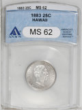 Coins of Hawaii: , 1883 25C Hawaii Quarter MS62 ANACS. NGC Census: (70/372). PCGSPopulation (135/644). Mintage: 500,000. (#10987)...