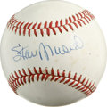 Autographs:Baseballs, Stan Musial Single Signed Baseball. The ONL (White) orb offeredhere has had the privilege of being signed right on the swe...