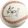 Autographs:Baseballs, Lauren Bacall Single Signed Baseball. Legendary actress known forher sultry looks and husky voice adorns the side panel of...