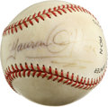 Autographs:Baseballs, Maureen O'Hara Single Signed Baseball. The famous Red headed beautyis known for playing fiercely passionate roles. She oft...