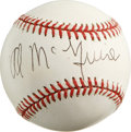 Autographs:Baseballs, Al McGuire Single Signed Baseball. Best known as a televisioncommentator for college basketball games, McGuire was elected...