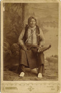 Photography:Cabinet Photos, Cabinet Card of Native American Indian with Cane & Fan, ca.1880s....