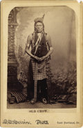 "Photography:Cabinet Photos, Cabinet Card Photograph of ""Old Crow"" Sioux Indian ca 1890s...."