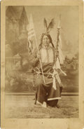 Photography:Cabinet Photos, Photograph of Indian Holding American Flag, ca. 1880s....