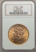 Liberty Double Eagles: , 1901 $20 MS63 NGC. NGC Census: (1661/1707). PCGS Population(1684/1742). Mintage: 111,400. Numismedia Wsl. Price for proble...