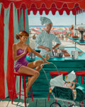 Mainstream Illustration, GEORGE HUGHES (American, 1907-1990). Babysitter at Beach Stand,The Saturday Evening Post cover, August 28, 1954. Oil on...